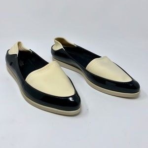 Melissa Space Black Neoprene Mix Point Flat Shoes